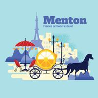 O desfile de frutas cítricas em Menton, França vetor