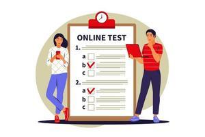 teste on-line do conceito, e-learning, exame no computador ou telefone. ilustração vetorial. plano vetor