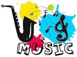 Saxofone com música de palavra no fundo vetor