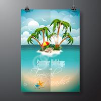 Vector verão férias Flyer Design com palmeiras e elementos de transporte