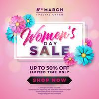Design de venda do dia das mulheres com bela flor colorida no fundo rosa