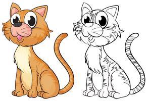 Contorno de animal para gato fofo vetor