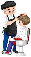 Barbeiro dando o corte de cabelo de menino vetor