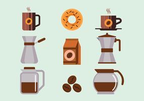 Conjunto de elementos de café vetor