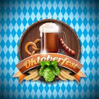 Ilustração em vetor Oktoberfest com cerveja escura fresca no fundo branco azul