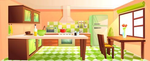Interior moderno da cozinha com mobília vetor