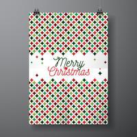 Vector a ilustração do feriado do Feliz Natal com projeto tipográfico e teste padrão abstrato da textura da cor no fundo limpo.