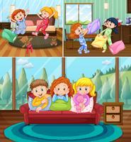 Meninas na festa do pijama na casa