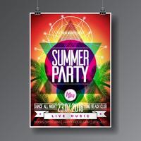 Vector verão praia festa Flyer Design com elementos tipográficos na palma abstrata