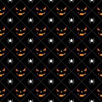 Ilustração de padrão sem emenda de Halloween com rostos assustadores de abóboras e aranhas vetor