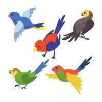 Conjunto de Clipart de pássaro bonito vetor