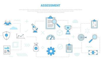 conceito de avaliação de negócios com conjunto de ícones de banner vetor