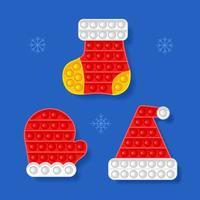 brinquedo anti-stress. tema de ano novo. luva, chapéu, meia. ilustração vetorial vetor