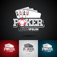Vector Poker Logo Design Template com elementos de jogo.