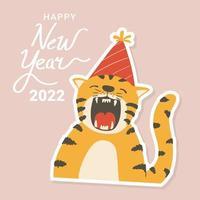 Autocolante de tigre fofo desenhado à mão com chapéu de festa vetor