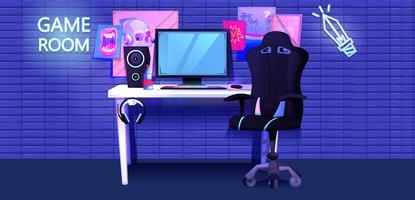 Jogador de esportes cibernético no local de trabalho vetor