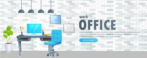 Local de trabalho com mesa e laptop e café vetor
