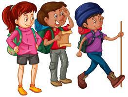Três, hikers, com, mochilas, e, mapa vetor