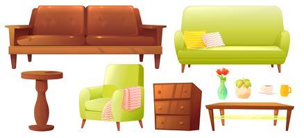 Conjunto de objeto vivo ou quarto com sofá de couro e prateleira de madeira