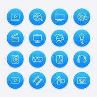 vídeo, áudio, ícones multimídia vetor