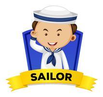 Ocupação wordcard com marinheiro