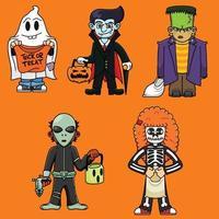 pacote de fantasia de halloween vetor