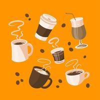 Cartoon Coffee Menu Elements Clipart Conjunto Vector