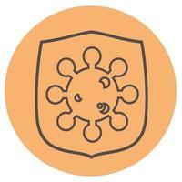 vetor de ícone de proteção de escudo de vírus em um fundo de pêssego. escudo e vírus assinam símbolo de página de ícone para seu logotipo de design de web site, app, interface do usuário. ilustração vetorial, eps10.