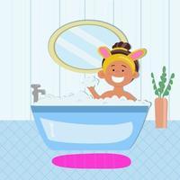 desenho animado com menina alegre e sorridente tomando banho vetor