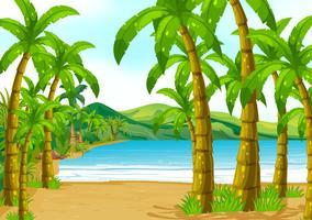 Cena, com, árvores, praia vetor