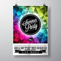 Vector verão praia festa Flyer Design com elementos tipográficos