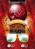 Vector verão praia festa Flyer Design com bola de discoteca e óculos de sol