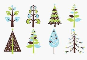 Pacote retro do vetor da árvore de Natal