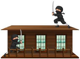 Ninja com espada no telhado vetor