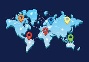 Mapa Internacional 3D vetor