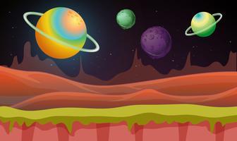 Cena fundo, com, muitos, planetas, em, galáxia vetor