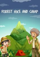 Pessoas acampadas na floresta vetor