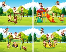 Cenas com macacos brincando no parque vetor