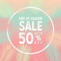 fim da temporada de venda até o vetor de banner de 50 por cento, folhas de palmeira com conceito de borda branca.
