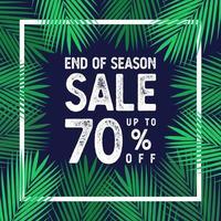 fim da temporada de venda de até 70 por cento do vetor de banner, folhas de palmeira com conceito de borda branca.