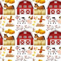 Animais de fazenda sem costura e celeiro vermelho vetor
