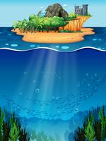 Subaquática e ilha vetor
