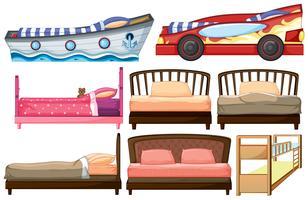 Projetos diferentes da cama vetor