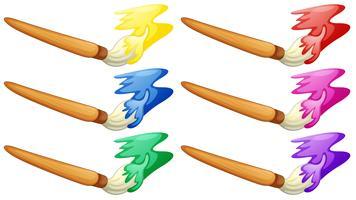 Design diferente da escova do pintor vetor