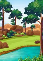Cena de floresta com rio e campo vetor