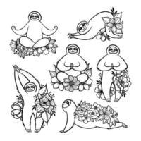 conjunto de preguiças mandala zentangle estilizado em diferentes poses fazendo ioga vetor