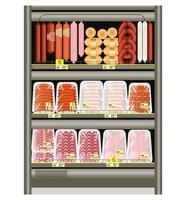salsicha e salsichas no balcão da loja na geladeira. venda de produtos de carne em uma bandeja. ilustração vetorial. vetor