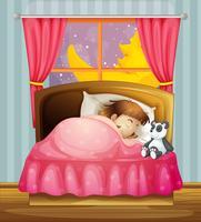 Uma menina dormindo vetor
