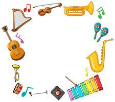 Modelo de fronteira com instrumentos musicais vetor