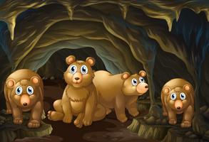 Quatro, ursos, vivendo, em, a, caverna vetor